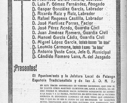 Caídos Almodóvar del Río. Azul de 23 de julio de 1939