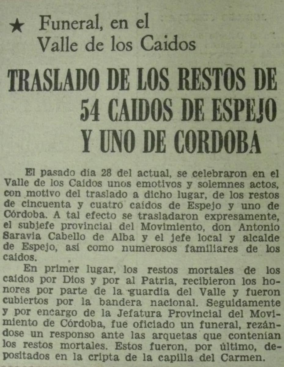 Noticia aparecida en el diario Córdoba de 31 de mayo de 1973.